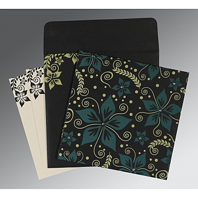 Black Matte Floral Themed - Screen Printed Wedding Invitation : ARU-8240A - IndianWeddingCards