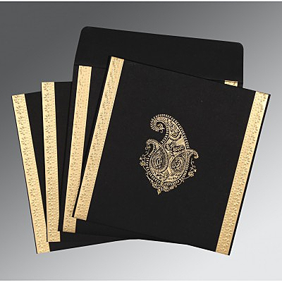 Black Matte Paisley Themed - Embossed Wedding Invitation : AC-8231I - IndianWeddingCards