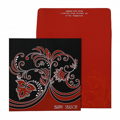 Black Matte Paisley Themed - Screen Printed Wedding Invitation : AH-873