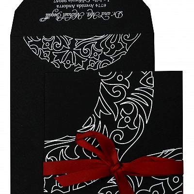 Black Matte Paisley Themed - Screen Printed Wedding Invitation : AIN-830