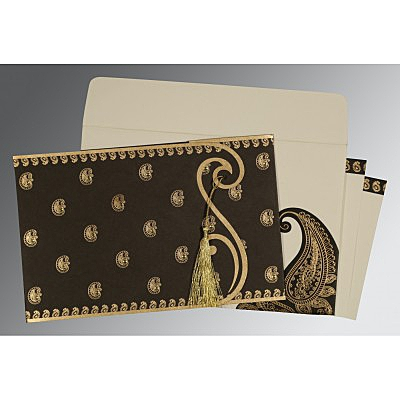Black Matte Paisley Themed - Screen Printed Wedding Invitation : AG-8252C - IndianWeddingCards