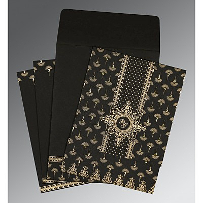 Black Matte Screen Printed Wedding Invitation : AS-8247B - IndianWeddingCards