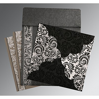 Black Shimmery Floral Themed - Screen Printed Wedding Card : ARU-8235I - IndianWeddingCards
