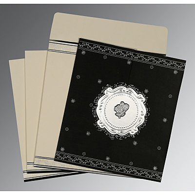 Black Wooly Embossed Wedding Invitations : AC-8202L - A2zWeddingCards