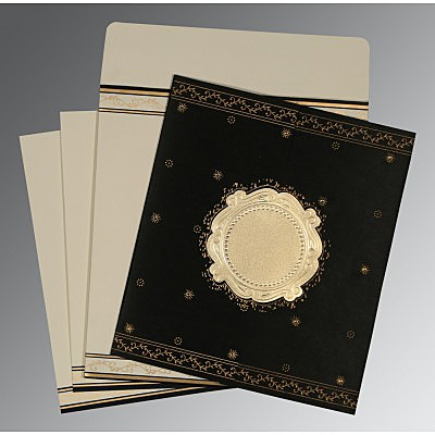 Black Wooly Embossed Wedding Invitation : AD-8202K - IndianWeddingCards