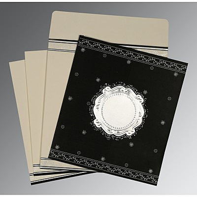 Black Wooly Embossed Wedding Invitation : AD-8202L - IndianWeddingCards