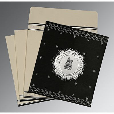 Black Wooly Embossed Wedding Invitations : AI-8202L - A2zWeddingCards