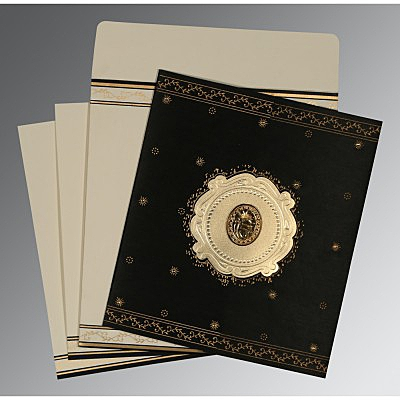 Black Wooly Embossed Wedding Invitation : AS-8202K - IndianWeddingCards