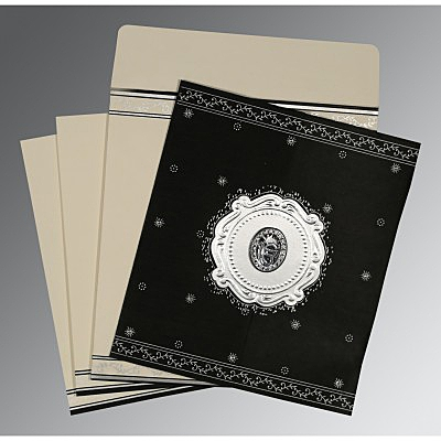 Black Wooly Embossed Wedding Invitation : AS-8202L - IndianWeddingCards