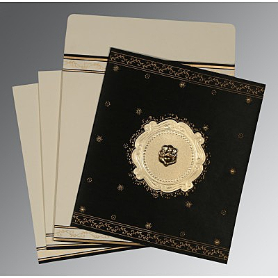 Black Wooly Embossed Wedding Invitation : AW-8202K - IndianWeddingCards