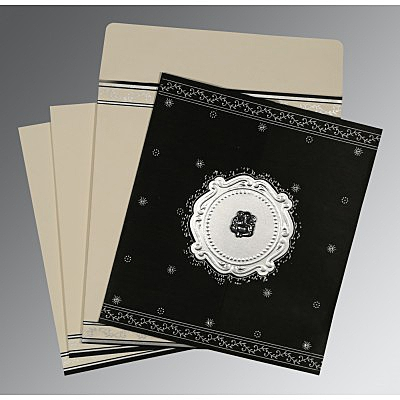 Black Wooly Embossed Wedding Invitation : AW-8202L - IndianWeddingCards