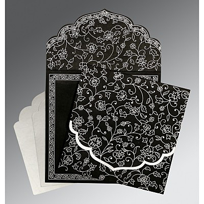 Black Wooly Floral Themed - Screen Printed Wedding Invitation : AC-8211B - IndianWeddingCards