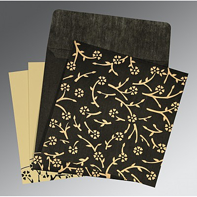 Black Wooly Floral Themed - Screen Printed Wedding Invitation : AI-8216K - IndianWeddingCards