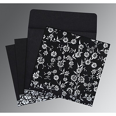 Black Wooly Floral Themed - Screen Printed Wedding Card : AI-8222J - IndianWeddingCards