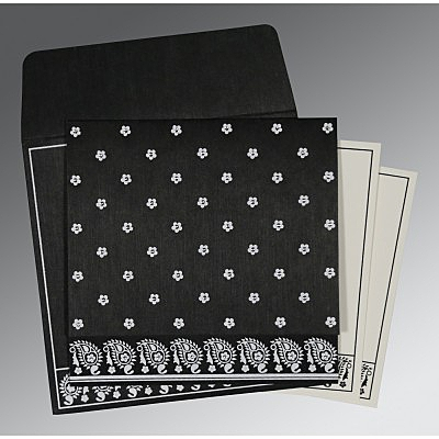Black Wooly Floral Themed - Screen Printed Wedding Card : AIN-8218L