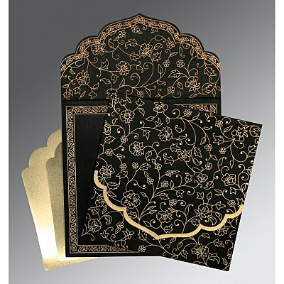 Black Wooly Floral Themed - Screen Printed Wedding Invitation : AS-8211N - IndianWeddingCards