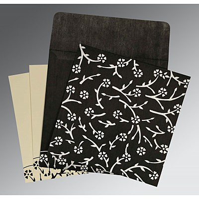 Black Wooly Floral Themed - Screen Printed Wedding Invitation : AS-8216N - IndianWeddingCards