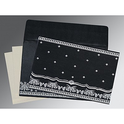 Black Wooly Foil Stamped Wedding Invitation : AI-8241O - IndianWeddingCards