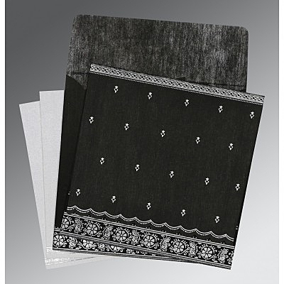 Black Wooly Foil Stamped Wedding Card : AIN-8242B - IndianWeddingCards