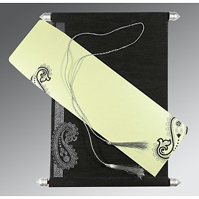 Black Wooly Foil Stamped Wedding Card : ASC-5015C - IndianWeddingCards