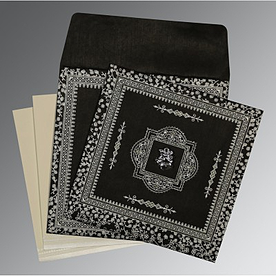 Black Wooly Glitter Wedding Card : AC-8205L - IndianWeddingCards