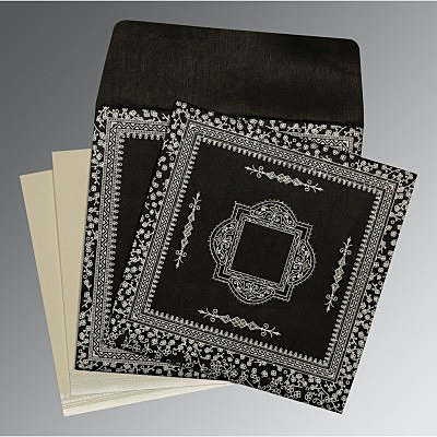 Black Wooly Glitter Wedding Card : AD-8205L - IndianWeddingCards