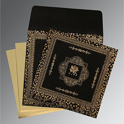 Black Wooly Glitter Wedding Card : AG-8205K - IndianWeddingCards