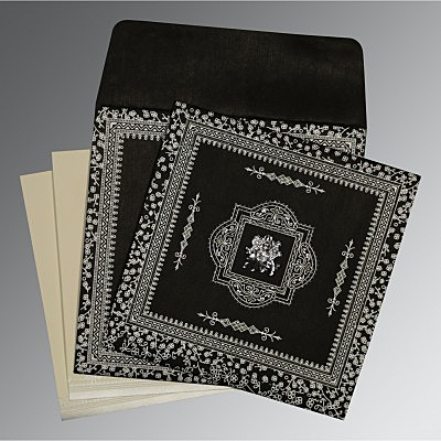 Black Wooly Glitter Wedding Card : AG-8205L - IndianWeddingCards