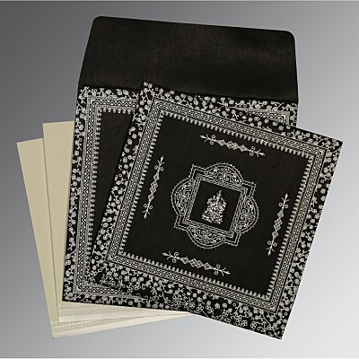 Black Wooly Glitter Wedding Card : AW-8205L - A2zWeddingCards