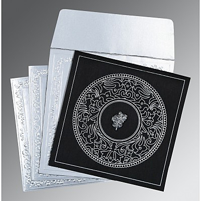 Black Wooly Screen Printed Wedding Card : AC-8214N - IndianWeddingCards