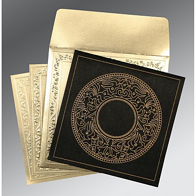 Black Wooly Screen Printed Wedding Card : AD-8214D - IndianWeddingCards