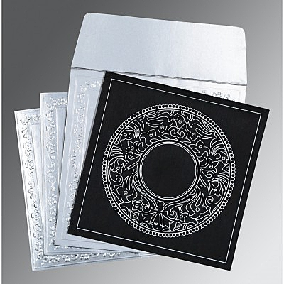 Black Wooly Screen Printed Wedding Card : AD-8214N - IndianWeddingCards