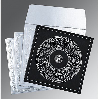 Black Wooly Screen Printed Wedding Card : ARU-8214N - IndianWeddingCards