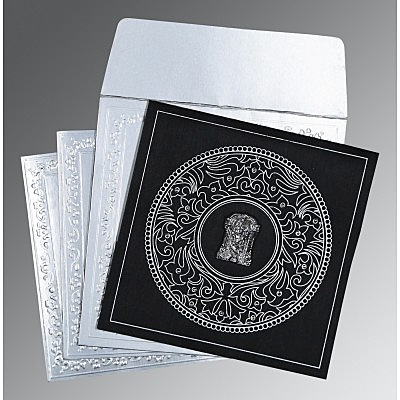 Black Wooly Screen Printed Wedding Card : ASO-8214N - IndianWeddingCards