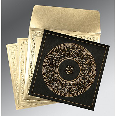 Black Wooly Screen Printed Wedding Card : AW-8214D - IndianWeddingCards