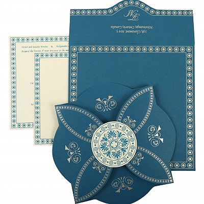 Blue Butterfly Themed - Screen Printed Wedding Invitation : AIN-820D