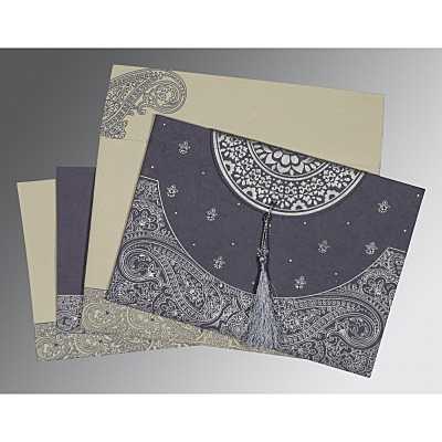 Blue Handmade Cotton Embossed Wedding Card : AG-8234J - IndianWeddingCards