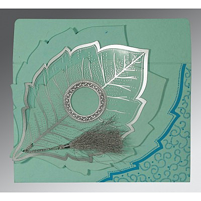 Blue Handmade Cotton Floral Themed - Foil Stamped Wedding Card : AC-8219C - A2zWeddingCards