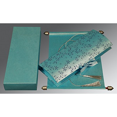 Blue Handmade Shimmer Wedding Invitation : ASC-5007D - IndianWeddingCards