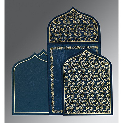 Blue Handmade Silk Paisley Themed - Glitter Wedding Invitation : AG-8208B - IndianWeddingCards