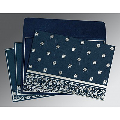 Blue Handmade Silk Screen Printed Wedding Card : AG-8215I - IndianWeddingCards