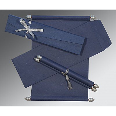 Blue Handmade Silk Wedding Card : ASC-5001A