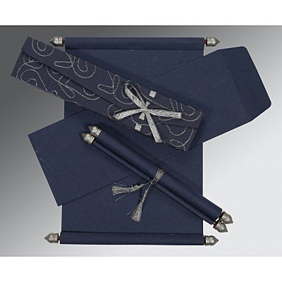 Blue Handmade Silk Wedding Card : ASC-5002D - IndianWeddingCards
