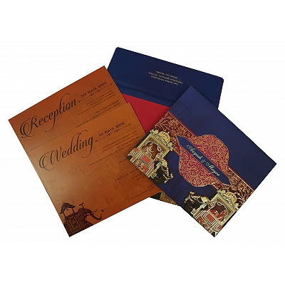 Blue Matte Box Themed - Foil Stamped Wedding Invitation : AS-1830 - A2zWeddingCards