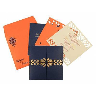 Blue Matte Embossed Wedding Invitation : AG-8260F - IndianWeddingCards