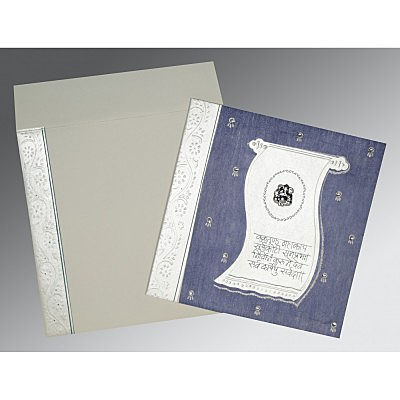 Blue Matte Embossed Wedding Card : AIN-2109 - A2zWeddingCards