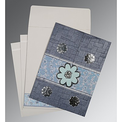 Blue Matte Floral Themed - Embossed Wedding Card : AIN-1285