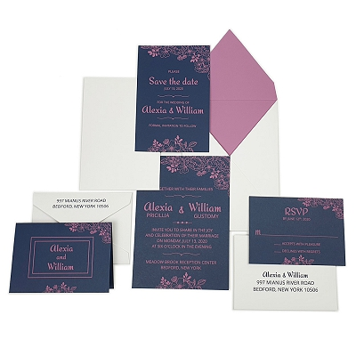 Blue Matte Floral Themed - Screen Printed Wedding Invitation : ABLOOM
