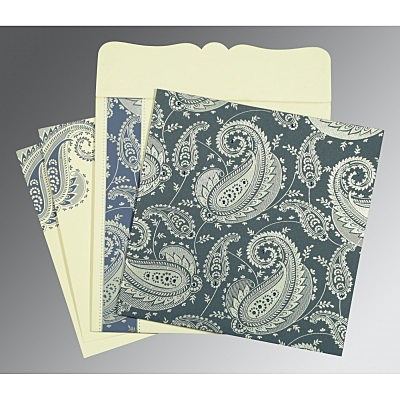 Blue Matte Paisley Themed - Screen Printed Wedding Card : AC-8250E - IndianWeddingCards