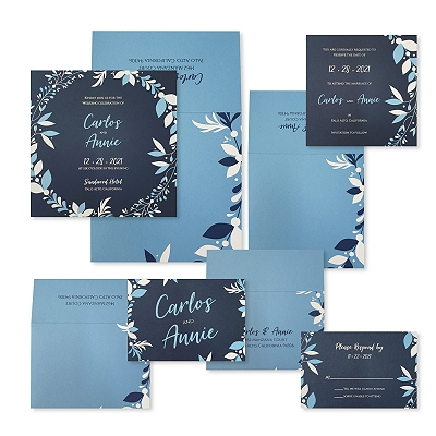 Blue Matte Screen Printed Wedding Invitation : ACORNER_WREATH